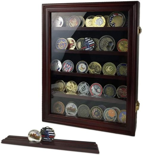 Military Challenge Coin Display Case Cabinet - 60 coins