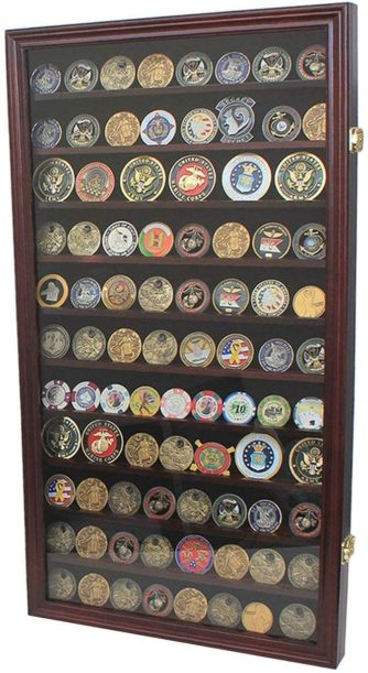 Military Challenge Coin Display Case Wall Cabinet Mahogany Finish - 80 coins