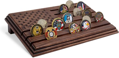 Military Challenge Coins Stand Holder Display Rack - 36 coins