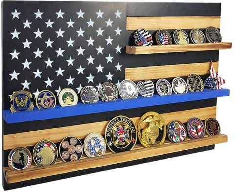 Thin Blue Line American Flag Challenge Coin Display Wall Mounted - 20 coins