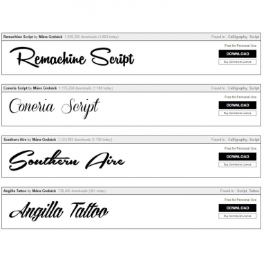 Newest script fonts  for your clothing labels - from 1001 free fonts