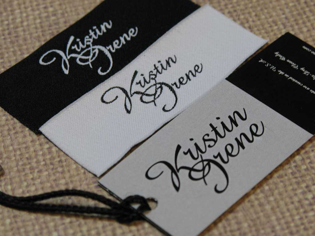 The classic yet modern look of her Woven Damask Labels and the fun look of her Hangtags