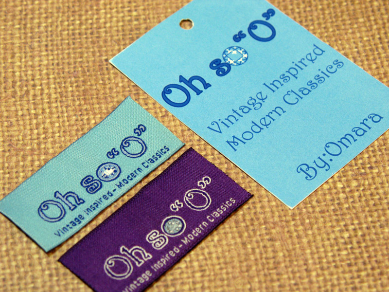 A set of Woven Damask Labels in complementary colors and a Hang Tag