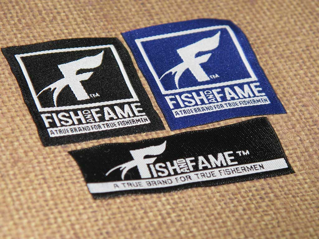 Fish and Fame Woven Damask Label Set