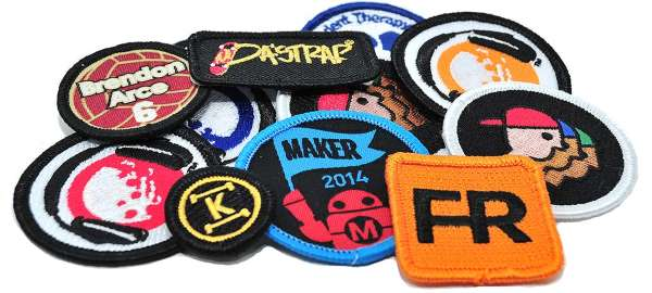 "Woven Sew On Patch 3.25/"" x 4/"" Down Logo"