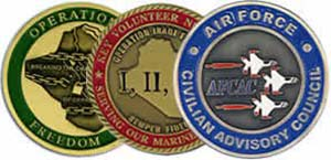 MILITARY, ENAMEL CHALLENGE COINS