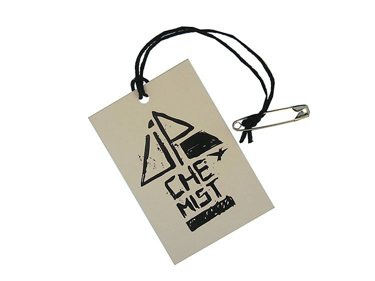 Chemist Hangtag with Black String