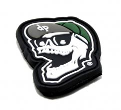 Skull pvc Patch2D Custom Shaped pvc Patch with Velcro Backing. Textured Background.