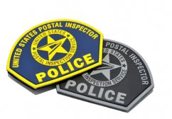 USPS Postal Inspector Police pvc Patches - Set2D Custom Shield Shaped pvc Patch with Velcro Backing.