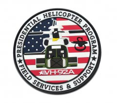 Presidential Helicopter Program pvc Patch2D Round pvc Patch with Velcro Backing. Helicopter