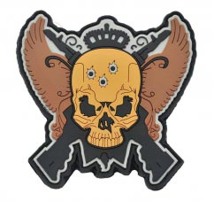 pvc Patch - Skull & Guns2D Custom Shaped pvc Patch with Velcro Backing.