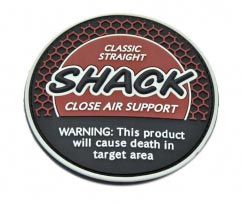 Shack Close Air Support pvc Patch2D Round pvc Patch with Velcro Backing. With Texture Background.