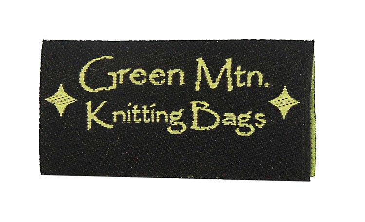 green mountain knitting bags woven label