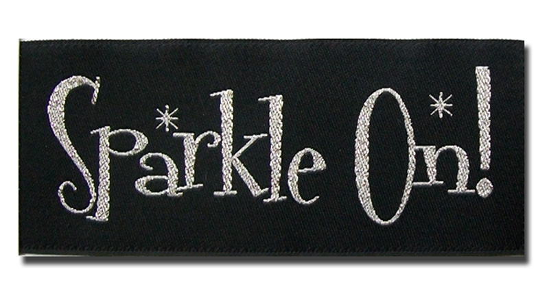 sparkle on woven metallic label