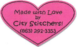 made with love by city stitchers laser cut woven label