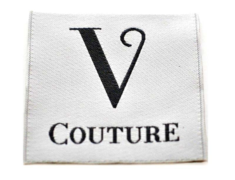 v couture woven label