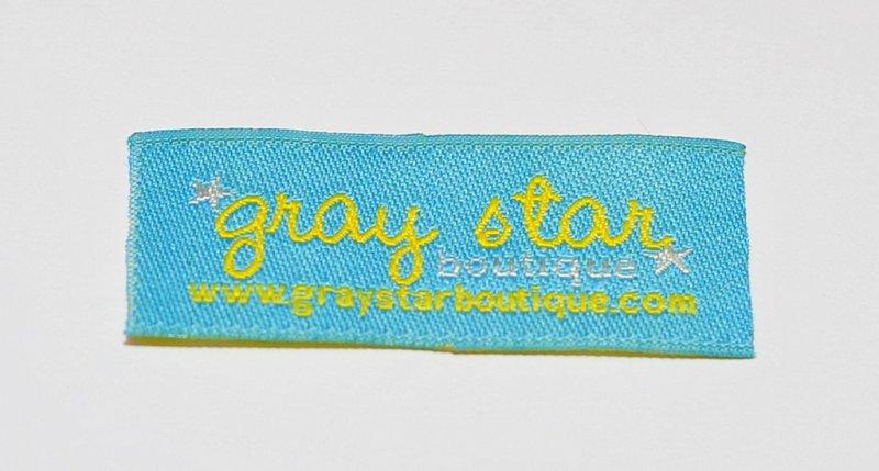 gray stars boutique woven label