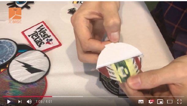 youtube video capture:  the difference between iron on backing and adhesive backing
