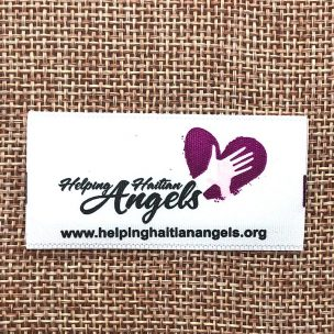 Helping Haitian Angels satin printed label