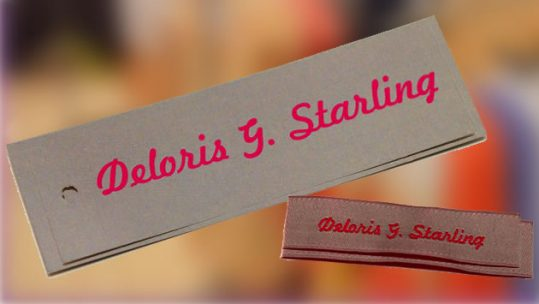 set of custom clothing labels and hangtags - deloris starling