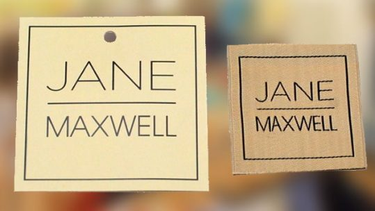 set of custom clothing labels and hangtags - jane maxwell