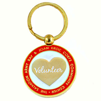 volunteer heart metal hard enamel keychain