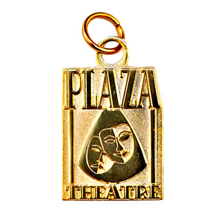 plaza theatre metal keychain - sandblast gold